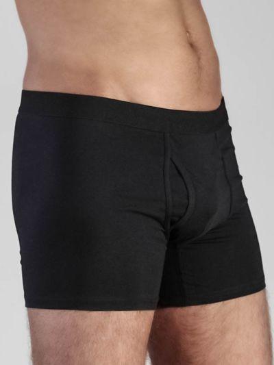 Boxer coton bio homme avec ouverture Noir