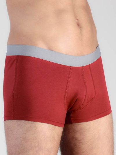 Boxer court coton bio homme  Rouge/Gris