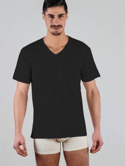 Tricot de peau 100% coton bio manches courtes col V Noir