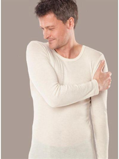 Homme tricot de peau laine et soie GOTS manches longues écru