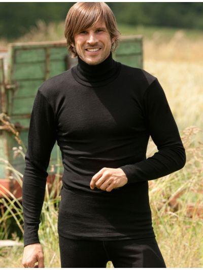 Homme sous pull col roulé laine et soie Noir