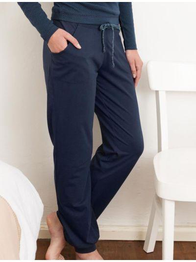 Pantalon coton bio détente Bleu marine, GOTS