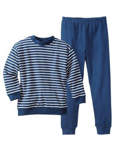 Pyjama 100% coton bio de 1 à 11 ans rayé Marine/Blanc