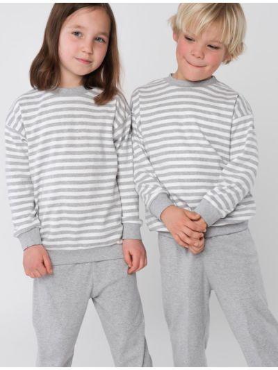 Pyjama 100% coton bio de 3 à 13 ans rayé Gris/Naturel unisexe GOTS et VEGAN