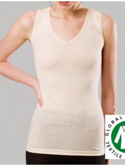 """Ligne """"LAINE ET SOIE GOTS"""" chemise femme sans manches écru"""