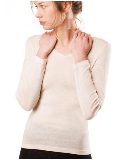 """Ligne """"LAINE ET SOIE GOTS"""" tricot de peau ML femme écru"""