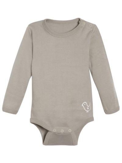 Body 100% coton bio bébé unisexe, manches longues Taupe
