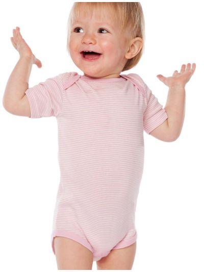 Body 100% coton bio manches courtes rayé rose, GOTS, de 3 à 12 mois