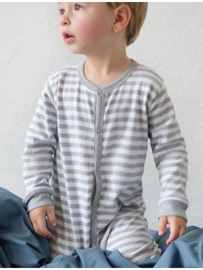 Pyjama 100% coton bio bébé unisexe, rayé Gris chiné/blanc