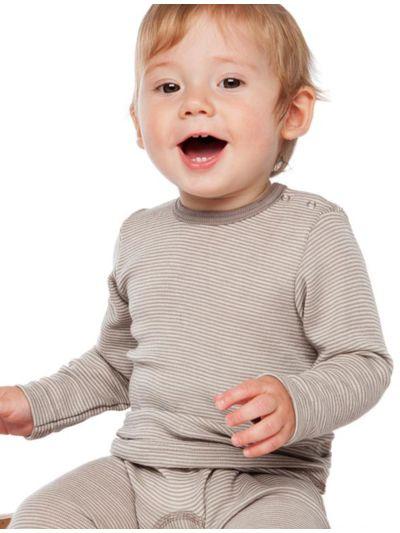 Tricot de peau laine et soie bio GOTS bébé unisexe, rayé
