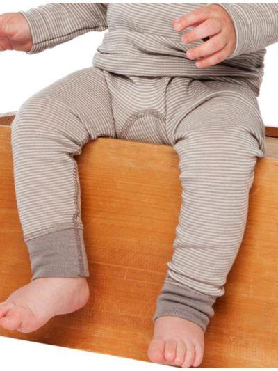 Caleçon long laine et soie bébé Rayé