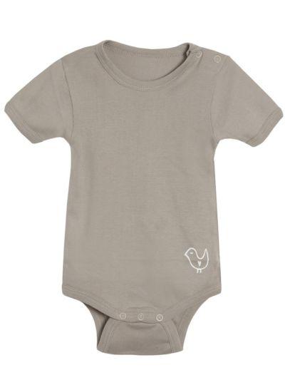 Body 100% coton bio manches courtes Taupe, 9/12 mois et  3/4 ans