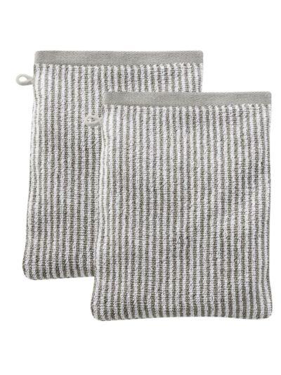 Lots de 2 gants de toilette 100% coton bio Rayé Naturel/Taupe clair