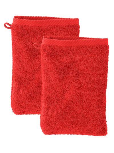 Lot de 2 gants de toilette 100% coton bio GOTS, Terre rouge