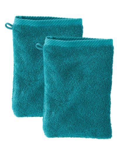 Lot de 2 gants de toilette 100% coton bio GOTS, Petrole