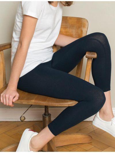 Legging coton bio 7/8 femme Marine GOTS