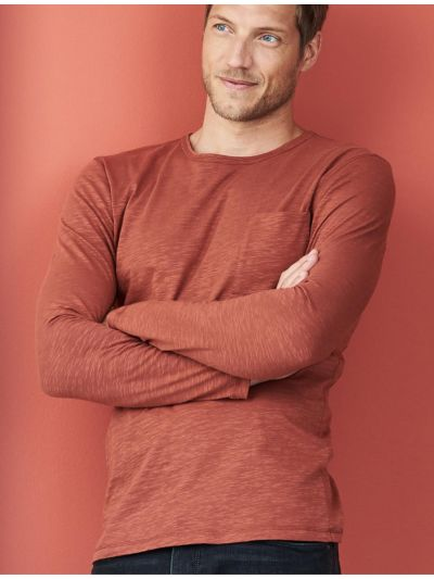 "T-shirt 100% coton bio ""flammé"" TAILLE XXL terre"