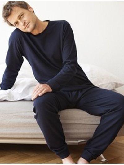 Pyjama 100% coton bio GOTS, Homme, bleu marine