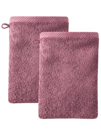 Lot de 2 gants de toilette 100% coton bio Merlot