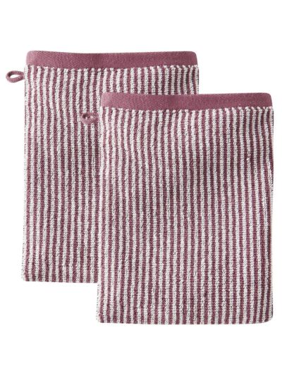 Lot de 2 gants de toilette 100% coton bio Rayé Naturel/Merlot