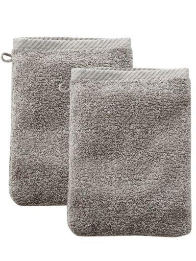 Lot de 2 gants de toilette 100% coton bio Taupe clair