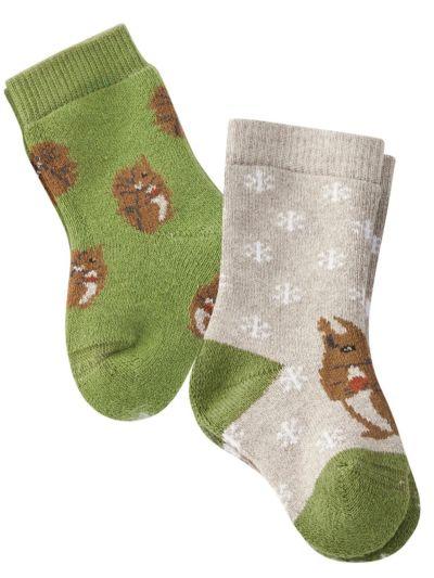 """Lot de 2 paires de chaussettes bébé """"écureuil"""""""
