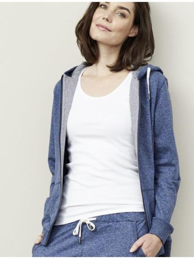 Veste sweat capuche coton bio Femme bleu chiné