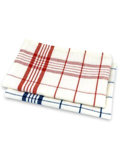 Torchons, lot de 2, en coton/lin bio rayé rouge/bleu