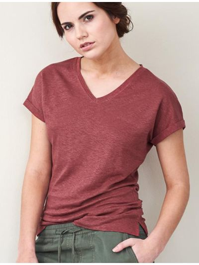 T-shirt 100% lin bio, TAILLE S, GOTS, femme, Rosso