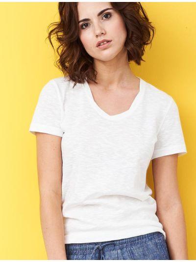 T-shirt 100% coton bio Femme col rond, Blanc cassé