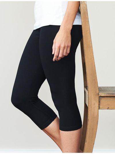 Legging coton bio 3/4 femme Noir GOTS