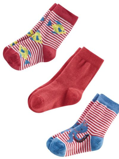 """Lot de 3 paires de chaussettes bébé """"poissons-pieuvre"""""""