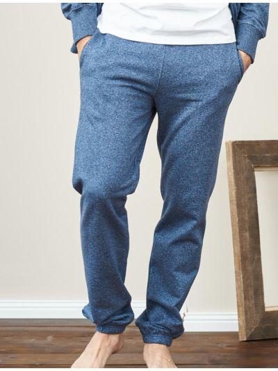 Pantalon 100% coton bio sport homme Bleu chiné, GOTS