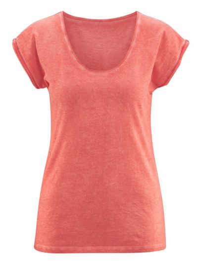 T-shirt 100% coton bio Femme col rond, TAILLE S, Cold Dyed Sunrise