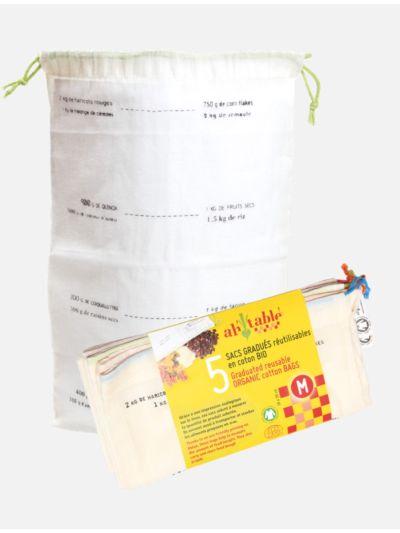 Lot de 5 sacs coton bio taille M gradués GOTS