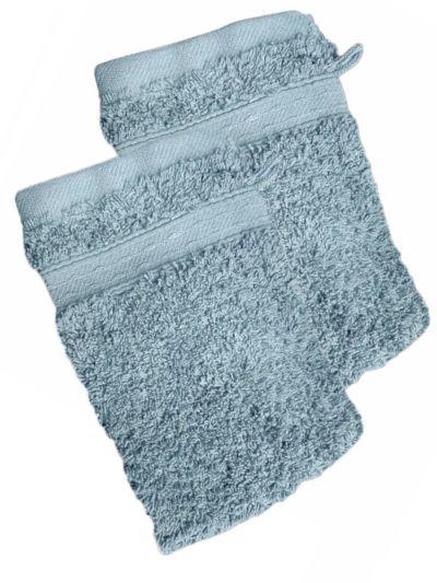 Lot de 2 Gants 100% coton bio 600 gr/m2, bleu nébuleux, fabriqué au Portugal, GOTS