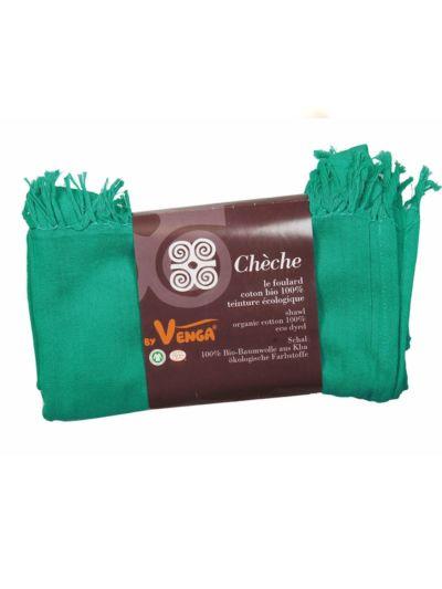 Echarpe/chèche en 100% coton bio Emeraude