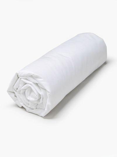 Drap housse 100% coton bio 160X200X30 cm, Fabriqué au Portugal, GOTS blanc