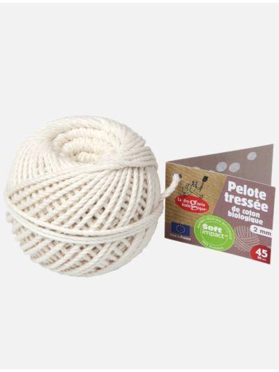 Pelotte en coton biologique, tressée en France, 2 mn, 45 m environ