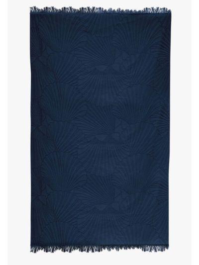Fouta 100% coton bio 100X180 cm coquillage bleu, fabriqué au Portugal
