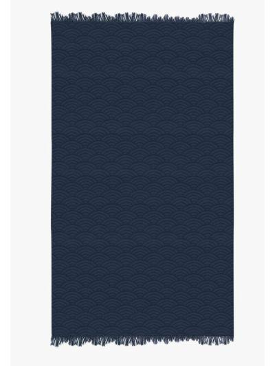 Fouta 100% coton bio 100X180 cm vague bleu, fabriqué au Portugal
