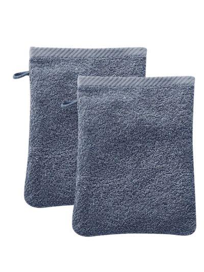 Lot de 2 gants de toilette 100% coton bio Bleu minéral
