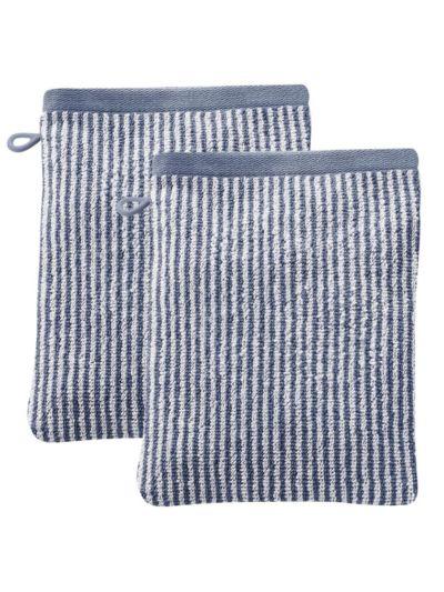 Lots de 2 gants de toilette 100% coton bio Rayé Naturel/Bleu minéral