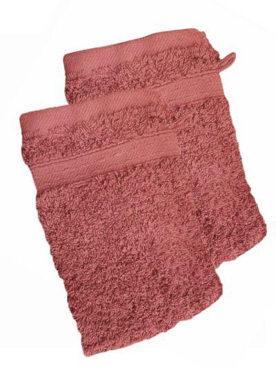 Lot de 2 gants 100% coton bio 600 gr/m2, rose fumé fabriqué au Portugal, GOTS