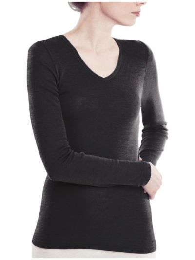 """Ligne """"LAINE ET SOIE GOTS"""" tricot de peau femme manches longues noir"""