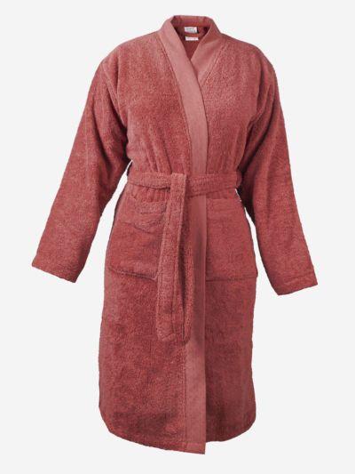 Peignoir 100 % coton bio unisexe GOTS coloris rose fumé, fabriqué au Portugal