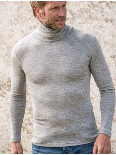 Sous pull col roulé laine et soie Homme gris chiné