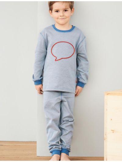 "Pyjama 100% coton bio unisexe ""rayé bulle"" bleu"