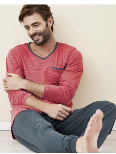 Pyjama 100% coton bio rayé gris/cayenne, GOTS