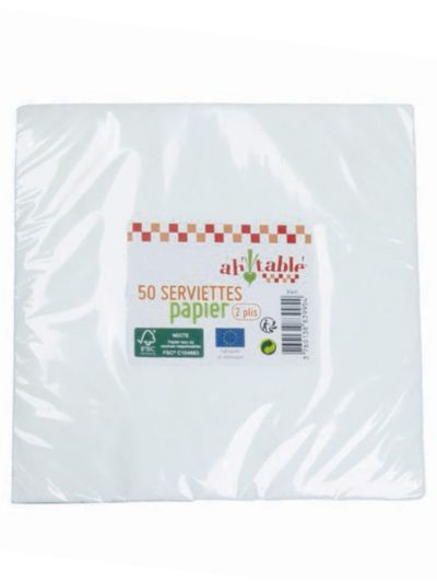 Lot de 50 serviettes en papier FSC, 33x33 cm, fabriquées en Allemagne